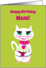 Mom Birthday White Cat with Cupcake card