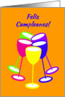 Spanish Birthday Colourful Toasting Glasses card