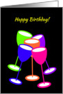Birthday Colourful Celebration Toasting Glasses card