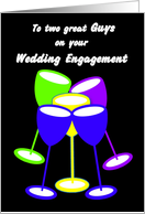Congratulations Gay Wedding Engagement Colourful Toasting Glasses card