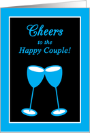 Gay Wedding Engagement Bright Blue Toasting Glasses card