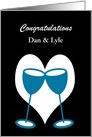 Congratulations Gay Marriage Custom Blue Toasting Glasses card