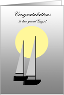 Gay Engagemet Two Boats sailing in the Moonlight card