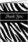Thank You Zebra Print Blank Inside Contemporary Black and White card