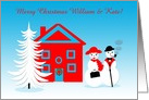 Customizable Name Christmas Jolly Dressed Up Snowpeople card
