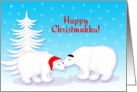 Christmukka Humor Snuggling Polar Bears in Snow card