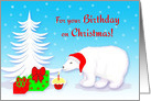 Christmas Birthday Polar Bear With Santa Hat and Cupcake card