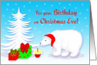 Christmas Eve Birthday Polar Bear With Santa Hat and Cupcake card