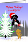 Neighbor Christmas Happy Holidays Dog Santa with Bone card