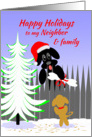 Neighbor And Family Christmas Happy Holidays Dog Santa with Bone card