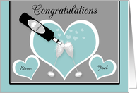 Congratulations Gay Engagement Custom Name Champagne and Hearts card