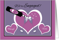 Announcement Engagement Lesbian Champagne Toast and Hearts card