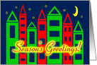 Christmas Season's Greetings Colorful Cityscape card