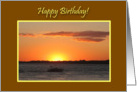 Birthday Beautiful Golden Summer Sunset W/Boat On River card