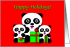 Christmas Happy Holidays Adorable Little Panda Bears card