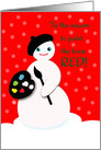 Humorous Christmas Artist Snowman with Beret and Paint card