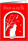 Remembrance Christmas Cat on Window Silhouette card
