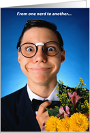 Nerd with flowers - Happy Birthday card