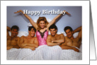 Sexy Woman in Bed with 4 Men - Happy Birthday card