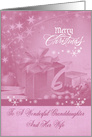 Christmas To Granddaughter And Wife, presents,snowflakes on pale pink card
