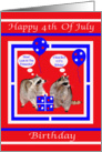Birthday On 4th of July, general, Raccoons on red, white and blue card
