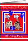 Invitation To Birthday On 4th of July Party, general, Raccoons, red card