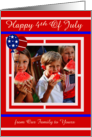 4th of July Photo Card, Custom, red, white, blue, patriotic balloons card