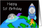1st Birthday, general, raccoon in a rocket and another in a space ship card