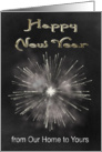 New Year From Our Home To Yours, chalkboard look, fireworks, smoke card
