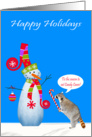 Christmas, General, Raccoon licking big candy cane, snowman on blue card