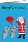 Christmas, general, Raccoons with Santa checking his list on blue card