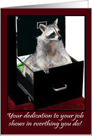 Business, Thank You, employee appreciation, Raccoon in file cabinet card