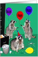 Birthday, Office, Raccoons having an office party, balloons, hate card