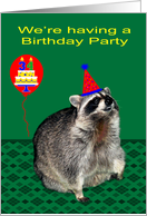 Invitation to�34th Birthday Party, Raccoon with party hat and balloons card