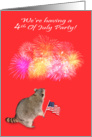 Invitation To 4th Of July Party, Raccoon Watching fireworks with flag card