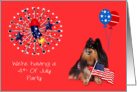 Invitation To 4th Of July Party, Pomeranian watching fireworks, red card