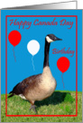 Birthday On Canada Day, general, Goose with flag, balloons on red card
