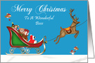 Christmas To Boss, Raccoon Santa Claus with deer in sleigh on blue card