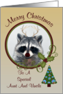 Christmas To Aunt And Uncle, Raccoon with antlers and tree card