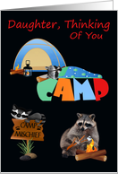 Thinking Of You, Daughter, At Summer Camp, raccoons camping card