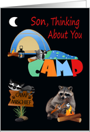 Thinking Of You, Son, At Summer Camp, raccoons camping, bonfire card