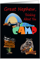 Thinking Of You, Great Nephew, At Summer Camp, raccoons camping card