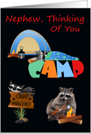 Thinking Of You, Nephew, At Summer Camp, raccoons camping, tent card