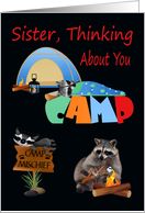 Thinking Of You, Sister, At Summer Camp, raccoons camping, tent card