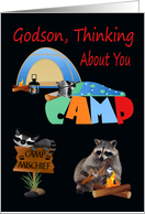 Thinking Of You, Godson, At Summer Camp, raccoons camping, tent card