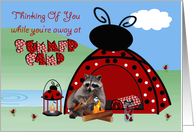 Thinking Of You, At Summer Camp, raccoon toasting marshmallow card