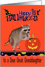 First Halloween To Great Granddaughter, Raccoon with jack-o-lantern card