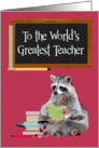 World Teachers' Day, Raccoon With Books card