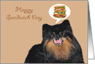 National Sandwich Day, Pomeranian licking her chops card