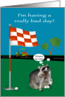 National Have A Bad Day Day, general, Raccoon with golf balls, flag card